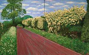 David Hockney - Hawthorne blossom near ru..