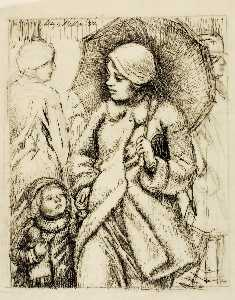 Kenneth Hayes Miller - Woman with Umbrella and Child