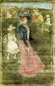 Maurice Brazil Prendergas.. - Lady in a Pink Skirt