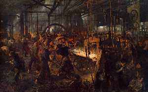 Adolph Menzel - German Eisenwalzwerk (Moderne Cyklopen) The Iron Rolling Mill (Modern Cyclopes)