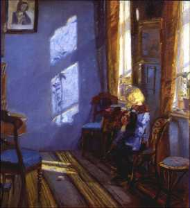Anna Kirstine Ancher - Solskin i den blå stue English Sunlight in the blue room