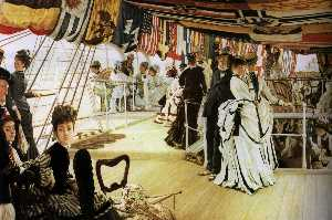 James Jacques Joseph Tissot - English Ball on Shipboard