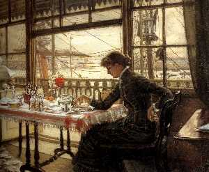 James Jacques Joseph Tissot - English Room Overlooking the Harbour