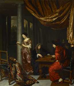 Frans Van Mieris The Elder - Interior with Figures Playing Tric trac