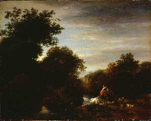 Nicolaes Berchem - Peasants at a Ford