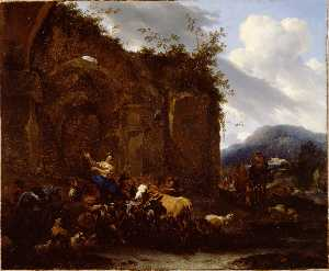 Nicolaes Berchem - A Farrier and Peasants ne..