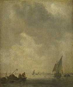 Jan Van Goyen - A River Scene, with Fishe..