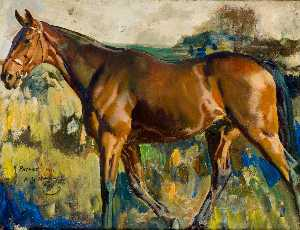 Alfred James Munnings - The Bay Horse, 'Patrick',..