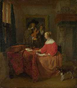 Gabriel Metsu - A Woman seated at a Table..