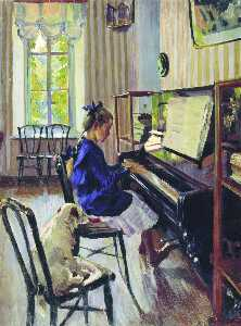 Sergei Arsenievich Vinogr.. - Girl at the Piano