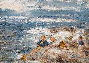 William Mctaggart - Fishing from the Rocks