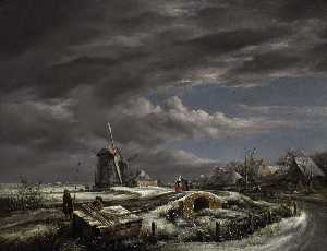 John Constable - A winter landscape with with figures on a path, a footbridge and windmills beyond