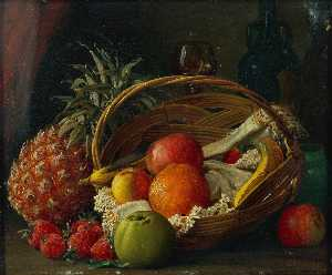George Frederick Harris - Still Life of Fruit in a Basket, a Pineapple Alongside and Wine Bottle and Glass Behind