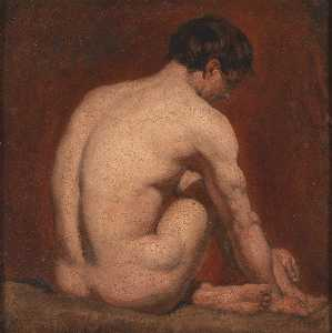William Etty - Male Nude, Kneeling, from the Back