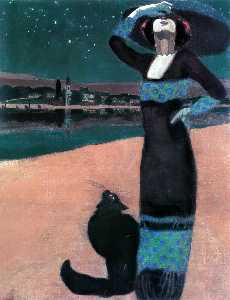 Geza Farago - Slim Woman with a Cat