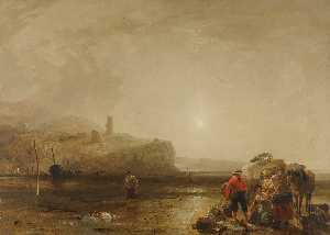 Augustus Wall Callcott - A coastal scene with figu..