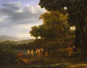 Claude Lorrain (Claude Ge.. - Landscape with Dancing Sa..