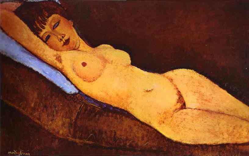 Reclining Nude with Blue Cushion by Amedeo Modigliani (1884-1920, Italy) | Paintings Reproductions Amedeo Modigliani | ArtsDot.com