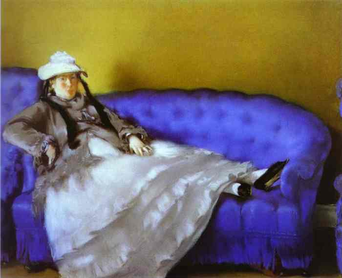 Buy Museum Art Reproductions | Portrait of Mme. Manet on a Blue Sofa by Edouard Manet (1832-1883, France) | ArtsDot.com