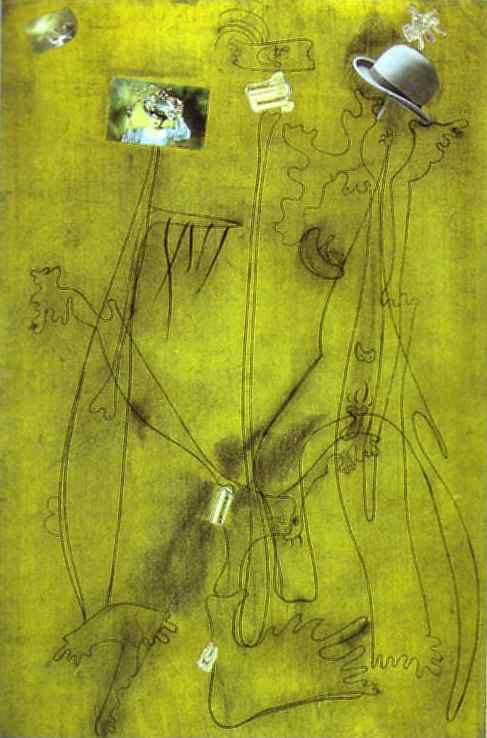 Drawing-Collage with a Hat, Collage by Joan Miro (1893-1937, Spain)