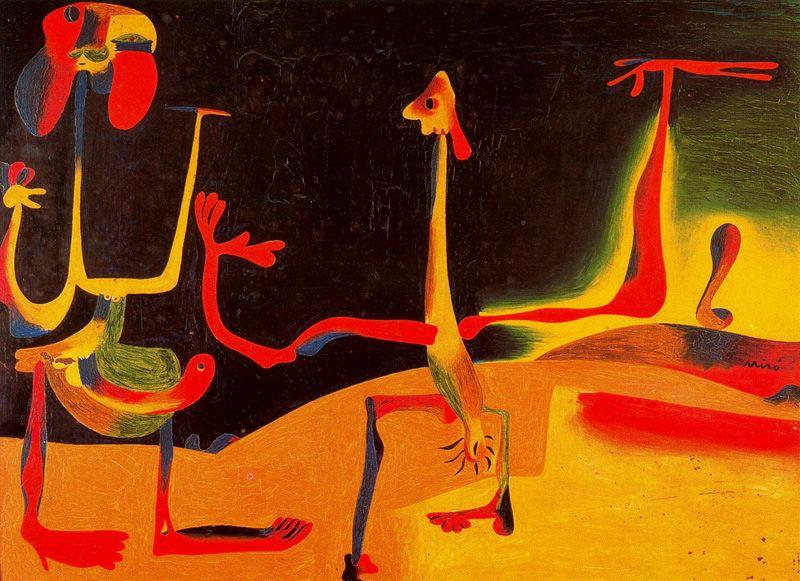 Man and Woman in Front of a Pile of Excrement, 1936 by Joan Miro (1893-1937, Spain)