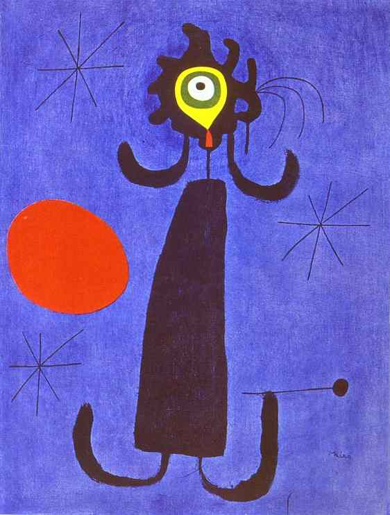 Woman in Front of the Sun, Oil On Canvas by Joan Miro (1893-1983, Spain)