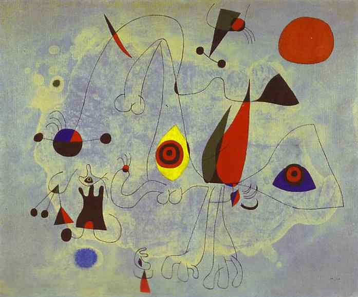 Women and Birds at Sunrise, Oil by Joan Miro (1893-1937, Spain)
