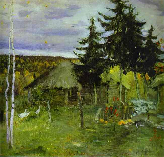 Autumn in a Village, Oil On Canvas by Mikhail Nesterov (1862-1942, Russia)