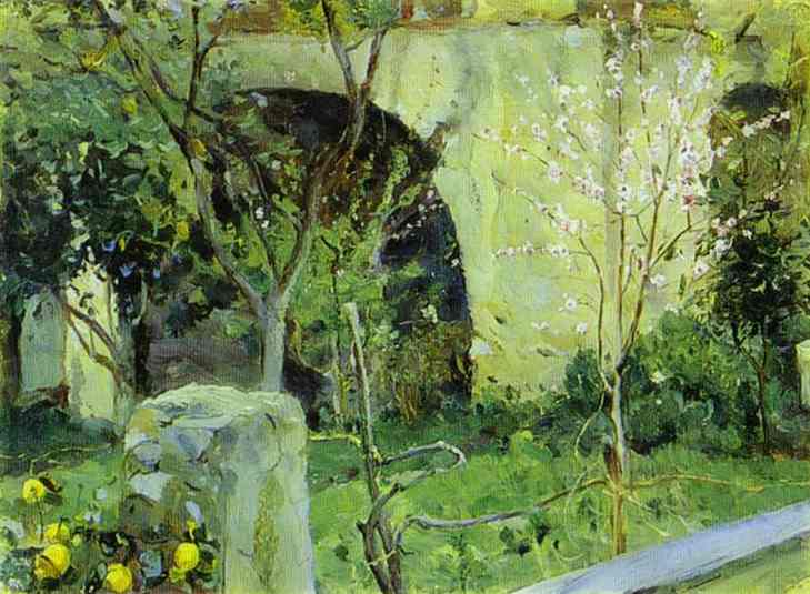 Capri. Almond trees in blossom., Oil On Canvas by Mikhail Nesterov (1862-1942, Russia)