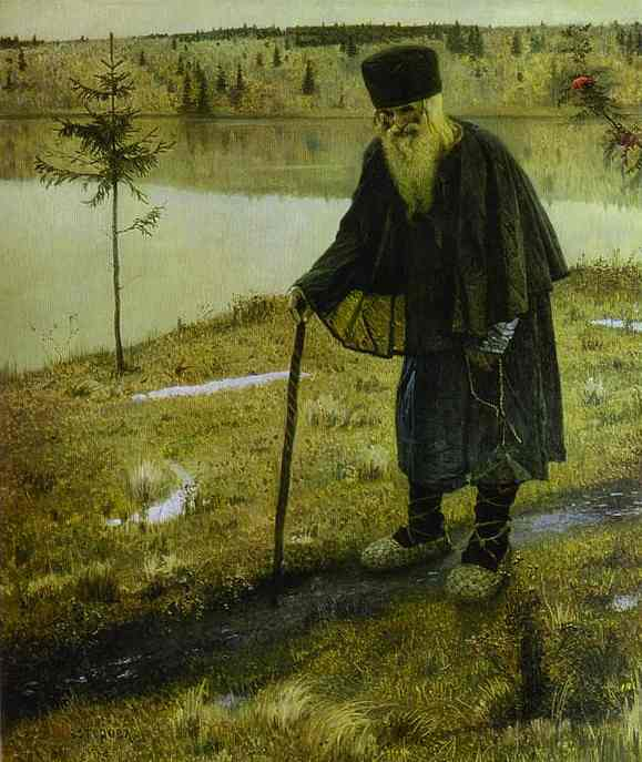 Hermit, Oil by Mikhail Nesterov (1862-1942, Russia)