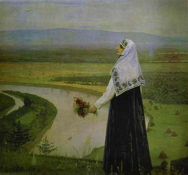 On the Hills, Oil by Mikhail Nesterov (1862-1942, Russia)