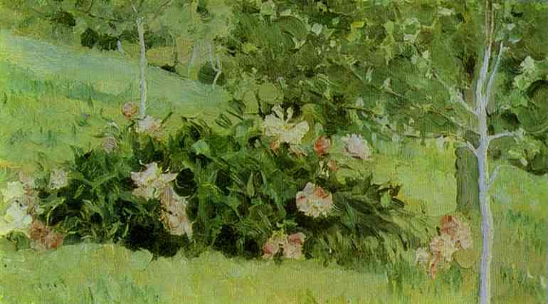Peonies, Oil On Canvas by Mikhail Nesterov (1862-1942, Russia)