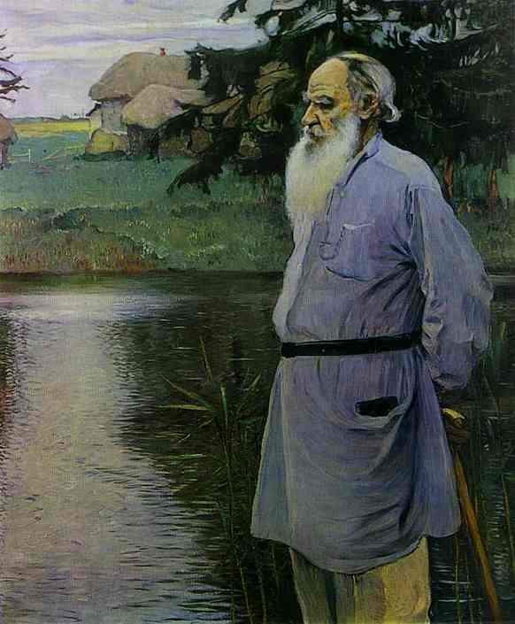 Portrait of Count Leo Tolstoy, Oil by Mikhail Nesterov (1862-1942, Russia)