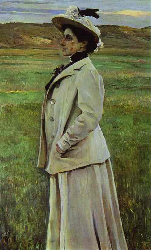 Portrait of Natalia Yashvil, Oil On Canvas by Mikhail Nesterov (1862-1942, Russia)