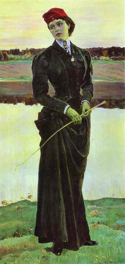 Portrait of Olga Nesterova, known as Woman in a Riding Habit, Oil by Mikhail Nesterov (1862-1942, Russia)