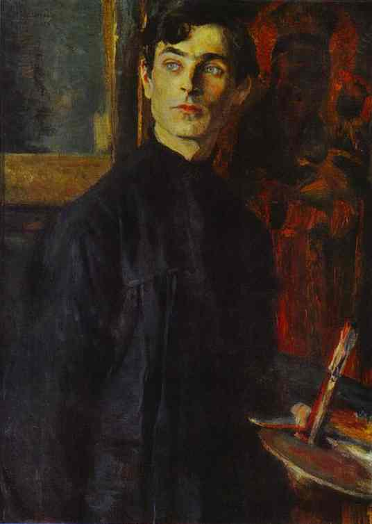 Portrait of Pavel Korin, Oil by Mikhail Nesterov (1862-1942, Russia)