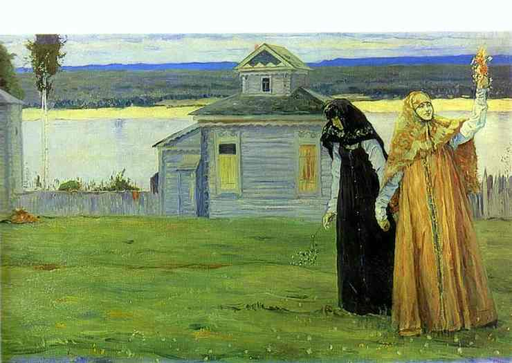 Sisters, Oil by Mikhail Nesterov (1862-1942, Russia)