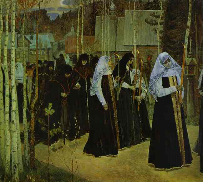 Taking the Veil, Oil by Mikhail Nesterov (1862-1942, Russia)