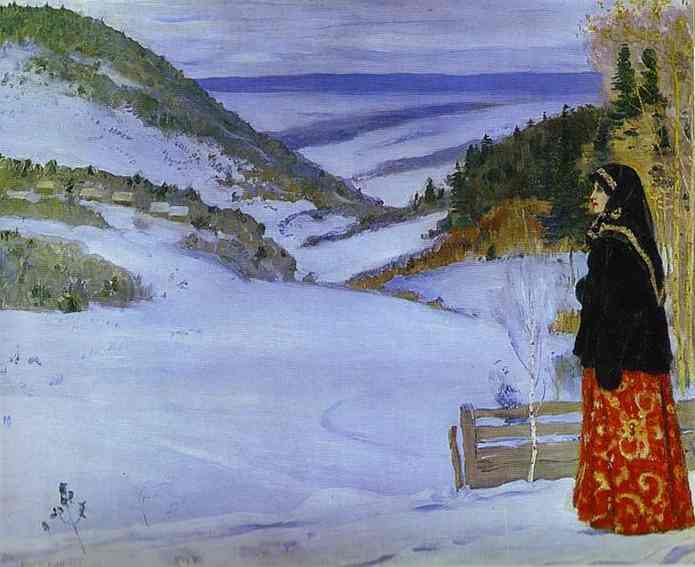 Winter in Ski, Oil by Mikhail Nesterov (1862-1942, Russian Empire)