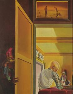 Salvador Dali - Gala and the Angelus of Millet Preceding the Imminent Arrival of the Conical Anamorphoses, 1933