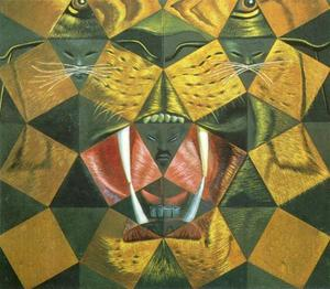 Salvador Dali - Study for -Fifty Abstract Pictures Which as Seen from Two Yards Change into Three Lenins Masquerading as Chinese and as Seen From Six Yards Appear as the Head of a Royal Bengal Tiger-, 1963