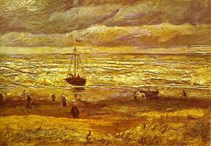 Vincent Van Gogh - Beach with Figures and Sea with a Ship
