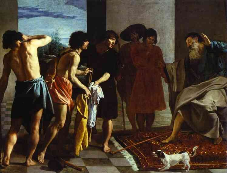 Joseph's Bloody Coat Brought to Jacob, Oil by Diego Velazquez (1599-1660, Spain)
