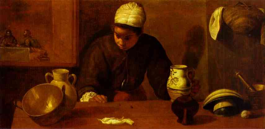 Kitchen Maid with the Supper at Emmaus, Oil by Diego Velazquez (1599-1660, Spain)