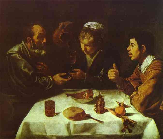 The Farmers' Lunch, Oil by Diego Velazquez (1599-1660, Spain)