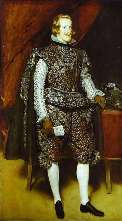 Philip IV in Brown and Silver, Oil by Diego Velazquez (1599-1660, Spain)