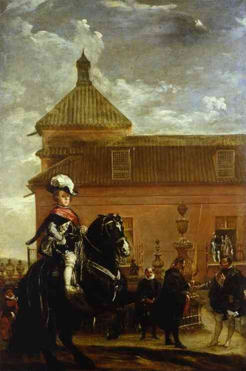 Prince Baltasar Carlos with the Count-Duke of Olivares at the Royal Mews, Oil by Diego Velazquez (1599-1660, Spain)