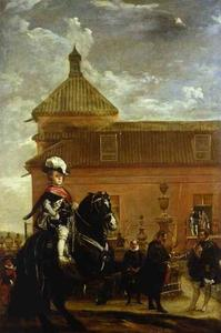 Diego Velazquez - Prince Baltasar Carlos with the Count-Duke of Olivares at the Royal Mews