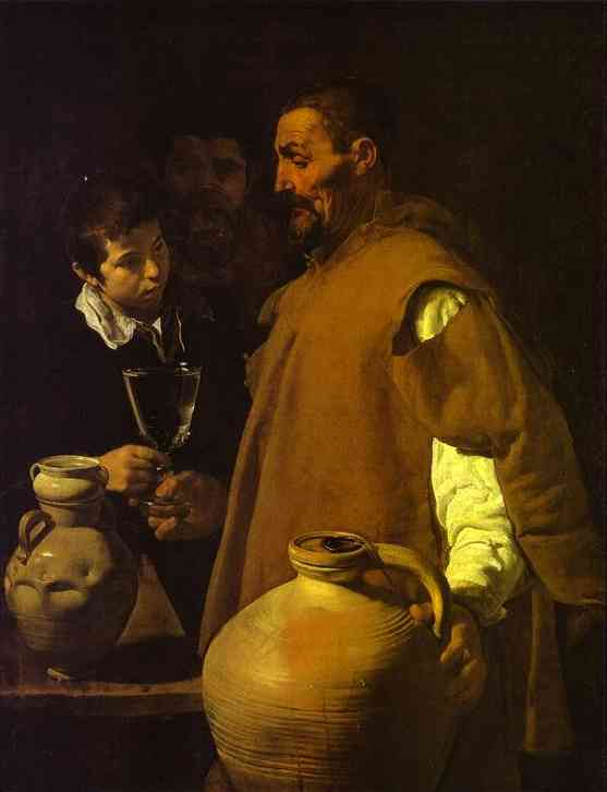 The Waterseller in Seville, Oil by Diego Velazquez (1599-1660, Spain)