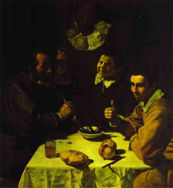 The Lunch, Oil by Diego Velazquez (1599-1660, Spain)